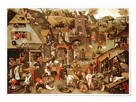 Poster Netherlandish Proverbs illustrated in a village landscape