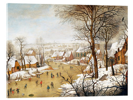Verre acrylique  A Winter Landscape with Skaters and a Bird Trap - Pieter Brueghel d.J.