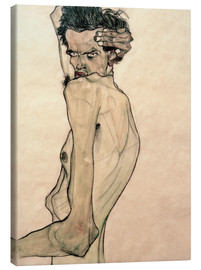 Toile  Egon Schiele with arms above the head - Egon Schiele