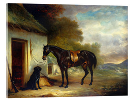 Verre acrylique  Mr. Stuart's Favourite Hunter, Vagabond' and his Flatcoated Retriever, Nell, by a Cottage Door, 1867 - John E. Ferneley