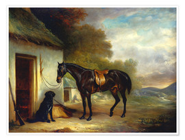 Poster  Mr. Stuart's Favourite Hunter, Vagabond' and his Flatcoated Retriever, Nell, by a Cottage Door, 1867 - John E. Ferneley