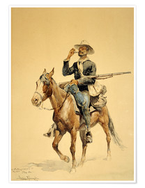 Poster  Un fantassin à cheval, 1890 - Frederic Remington