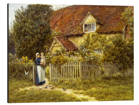 Tableau en aluminium  Mother and child on lodge - Helen Allingham