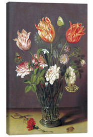 Tableau sur toile  Tulips with other Flowers in a Glass on a Table - Jan Brueghel d.Ä.