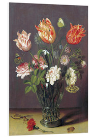 Tableau en PVC  Tulips with other Flowers in a Glass on a Table - Jan Brueghel d.Ä.