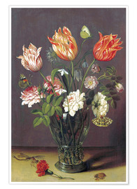 Poster Tulips with other Flowers in a Glass on a Table