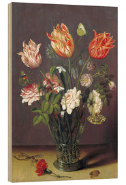 Tableau en bois  Tulips with other Flowers in a Glass on a Table - Jan Brueghel d.Ä.