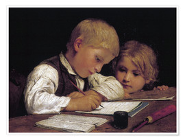 Poster  Boy writing with his sister - Albert Anker