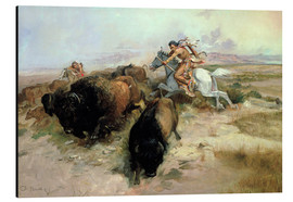 Tableau en aluminium  Chasse au bison, 1897 - Charles Marion Russell