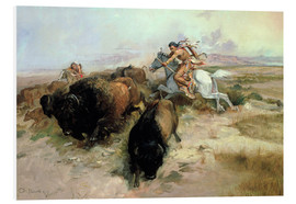 Tableau en PVC  Chasse au bison, 1897 - Charles Marion Russell