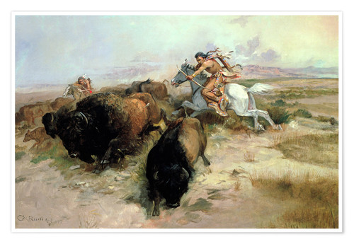 Poster Chasse au bison, 1897