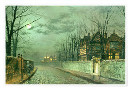 Poster  Old English House, Moonlight after Rain - John Atkinson Grimshaw
