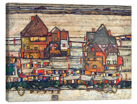 Toile  Houses with colorful laundry - Egon Schiele