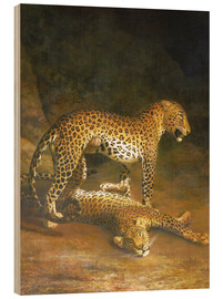Tableau en bois  Two Leopards lying in the Exeter Exchange - Jacques Laurent Agasse