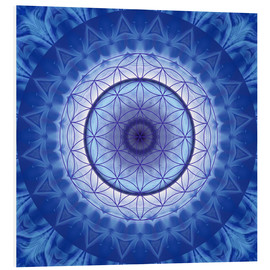 Tableau en PVC  Flower of life blue - Christine Bässler