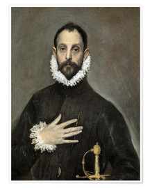 Poster  The Caballero with his Hand on His Heart - Dominikos Theotokopoulos (El Greco)