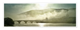 Poster  Heidelberg in fog with old bridge - Jan Christopher Becke