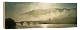 Tableau en bois  Heidelberg in fog with old bridge - Jan Christopher Becke