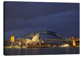 Tableau sur toile  Sydney Opera House and Harbour Bridge - David Wall