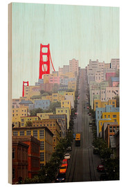 Tableau en bois  San Francisco and Golden Gate Bridgee - John Morris