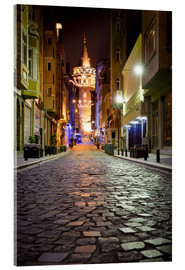 Tableau en verre acrylique  The famous Galata-Tower at night (Istanbul/Turkey) - gn fotografie