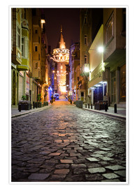 Poster  The famous Galata-Tower at night (Istanbul/Turkey) - gn fotografie
