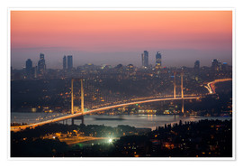 Poster  Bosporus-Bridge at Night (Istanbul / Turkey) - gn fotografie
