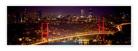 Poster  Bosporus-Bridge at night - red (Istanbul / Turkey) - gn fotografie
