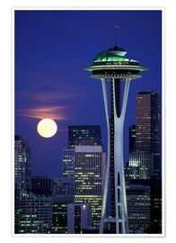Poster  Space Needle at full moon - William Sutton