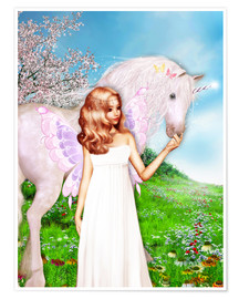 Poster  Angel and Unicorn - Dolphins DreamDesign