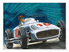 Poster  Juan Manuel Fangio driving a Mercedes-Benz - English School