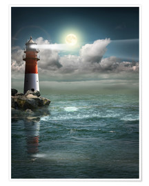 Poster  Lighthouse by moonlight - Monika Jüngling