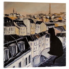 Verre acrylique  Black cat on the roofs of Paris - JIEL
