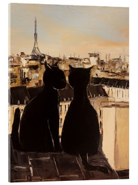 Verre acrylique  Cats on the roofs of Paris - JIEL