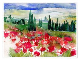 Poster Tuscan Poppies