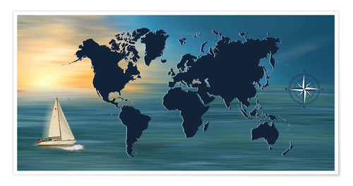 Poster Sailing around the world with world map