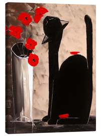 Toile  BLACK CAT WITH POPPIES - JIEL