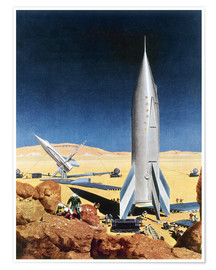 Poster  Mission sur Mars, année 1950 - Chesley Bonestell