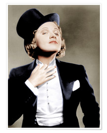Poster  Marlene Dietrich with a suit and cylinder