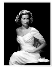 Poster  Grace Kelly en robe blanche