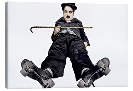 Toile  Charlie Chaplin with roller skates