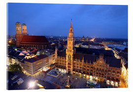 Verre acrylique  Church of our Lady and the new town hall in Munich at night - Buellom