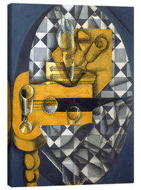 Toile  Guitar, Bottle, and Glass - Juan Gris
