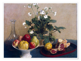 Poster Flowers, dish with fruit and carafe