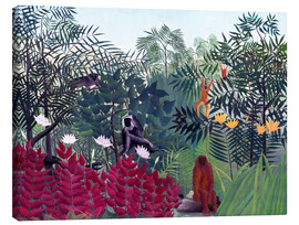 Toile  Tropical Forest with Monkeys - Henri Rousseau