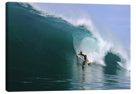 Tableau sur toile  Surfing in a huge green wave, tropical island paradise - Paul Kennedy