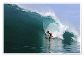 Poster  Surfing in a huge green wave, tropical island paradise - Paul Kennedy
