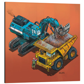 Tableau en aluminium  Excavator and trucks - Helmut Kollars