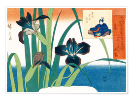 Poster Summer, irises at Yatsuhashi