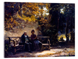 Tableau en verre acrylique  The couple on the bench - Carl Spitzweg